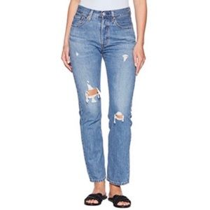 Levi's 501 high rise distressed button fly jeans